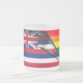Hawaii Rainbow Flag Frosted Glass Coffee Mug