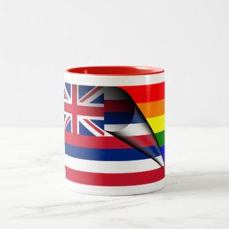Hawaii Rainbow Flag Two-Tone Coffee Mug