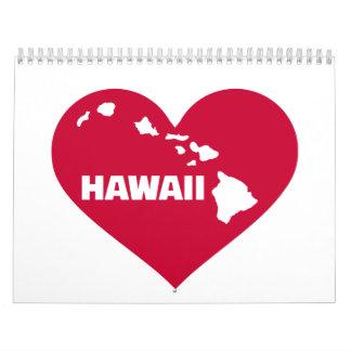 Hawaii red heart calendar