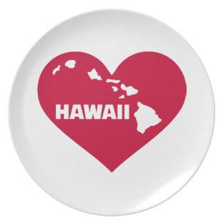 Hawaii red heart dinner plate