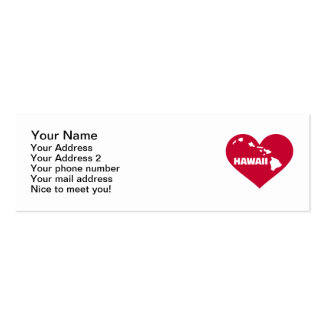 Hawaii red heart Double-Sided mini business cards (Pack of 20)