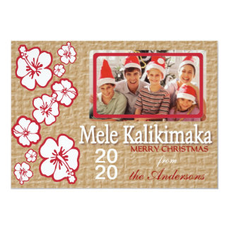 Hawaii red sand hibiscus custom photo holiday card