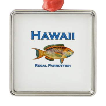 USA Themed Hawaii Regal Parrotfish Metal Ornament