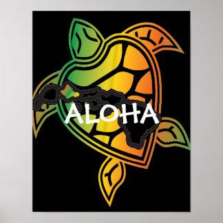 Hawaii Reggae Green Sea Turtle Poster