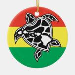 Hawaii Reggae Turtle Christmas Ornament