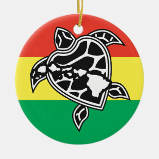 Hawaii Reggae Turtle Double-Sided Ceramic Round Christmas Ornament