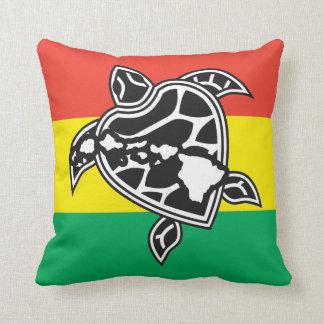Hawaii Reggae Turtle Flag Throw Pillows