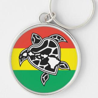 Hawaii Reggae Turtle Silver-Colored Round Keychain