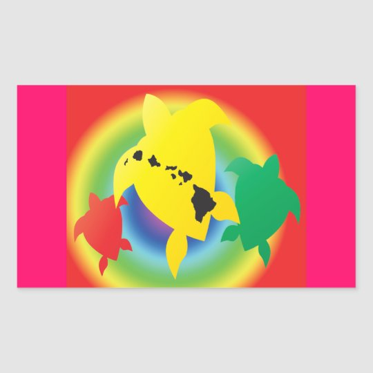 Hawaii Reggae Turtles Rectangular Sticker