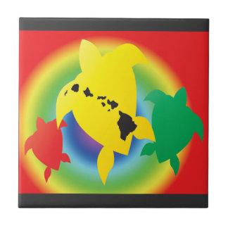 Hawaii Reggae Turtles Small Square Tile