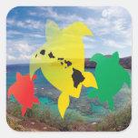 Hawaii Reggae Turtles Square Sticker
