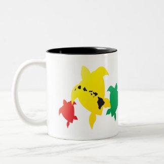 Hawaii Reggae Turtles Two-Tone Coffee Mug
