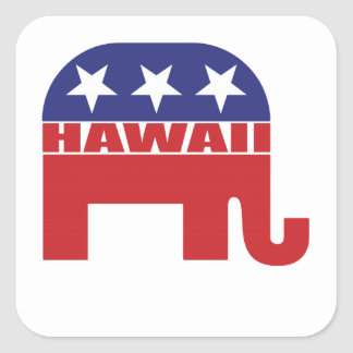 Hawaii Republican Elephant Square Sticker