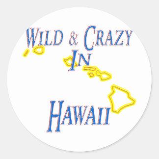 Hawaii - salvaje y loca pegatinas redondas