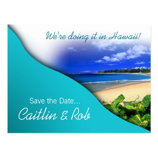 Hawaii Save The Date (aqua ocean) Postcard