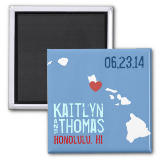 Hawaii Save the Date - Customizable City 2 Inch Square Magnet