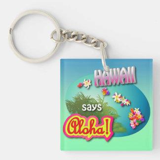 Hawaii Says Aloha! Double-Sided Square Acrylic Keychain
