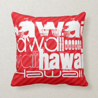 Hawaii; Scarlet Red Stripes Throw Pillow