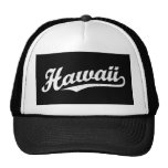 Hawaii script logo in white distressed hats