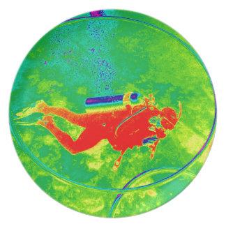 Hawaii Scuba Diver Melamine Plate