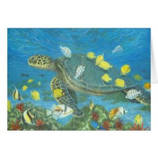 Hawaii sea turtle with reef fis card