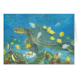Hawaii sea turtle with reef fis cards