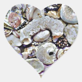 Hawaii Shells Close Up Heart Sticker