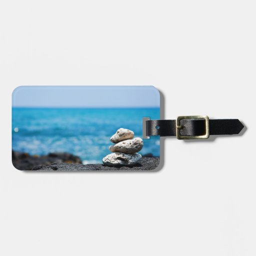 Hawaii Shoreline - White Coral, Black Lava Rocks Luggage Tag
