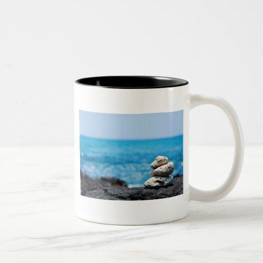 Hawaii Shoreline - White Coral, Black Lava Rocks Mugs
