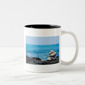 Hawaii Shoreline - White Coral, Black Lava Rocks Two-Tone Coffee Mug