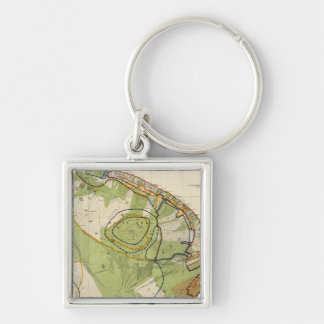 Hawaii Silver-Colored Square Keychain