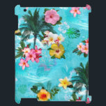 """Hawaii Soft Tropical iPad Cover<br><div class=""""desc"""">Floral design with palm trees and hibiscus in pastel colors.</div>"""