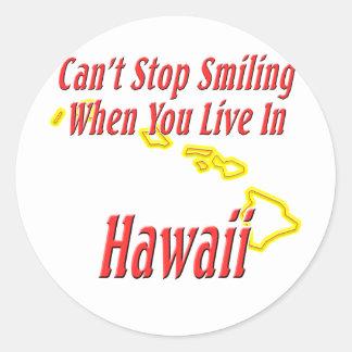 Hawaii - sonriendo etiqueta redonda