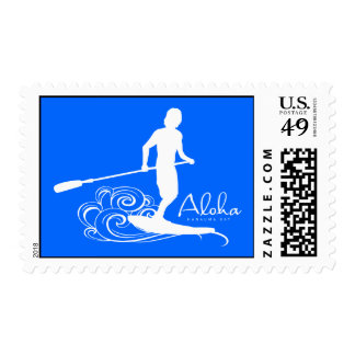 Hawaii Stand Up Paddling Postage Stamp