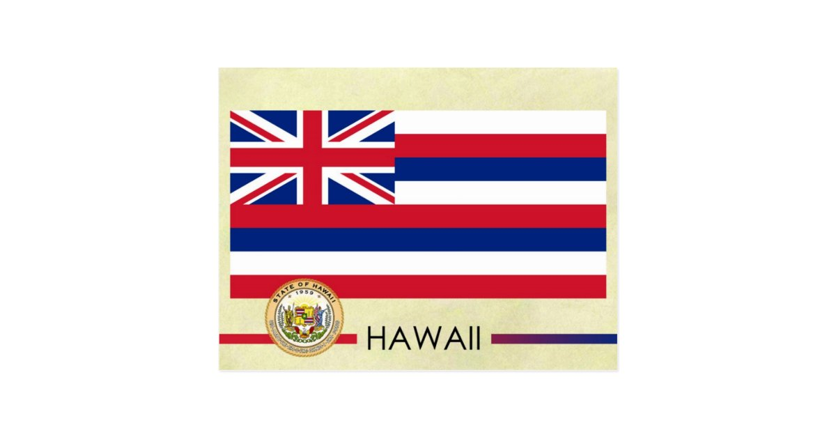 Hawaii State Flag And Seal Postcard Zazzle Com