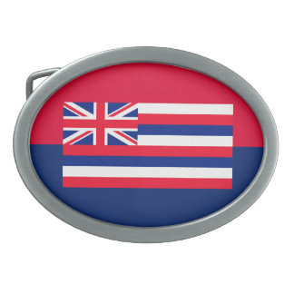 Hawaii State Flag Design Oval Belt Buckle