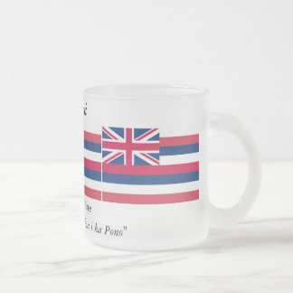 Hawaii State Flag Frosted Glass Coffee Mug