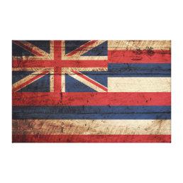 Hawaii State Flag on Old Wood Grain Canvas Print