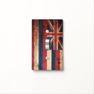 Hawaii State Flag on Old Wood Grain Light Switch Cover