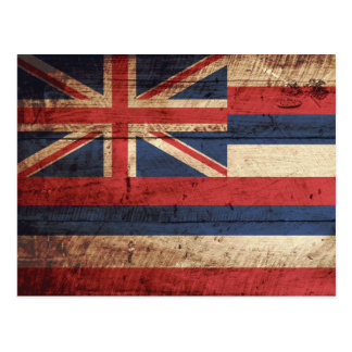 Hawaii State Flag on Old Wood Grain Postcard