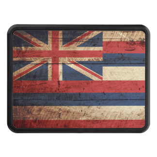 Hawaii State Flag on Old Wood Grain Tow Hitch Cover