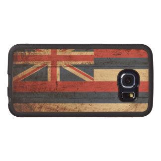 Hawaii State Flag on Old Wood Grain Wood Phone Case