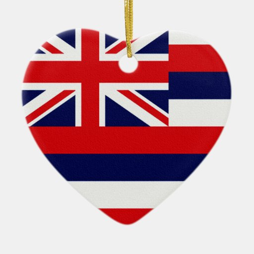 Hawaii State Flag Double-Sided Heart Ceramic Christmas Ornament