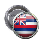 Hawaii State Flag Round Glass Ball Pinback Button