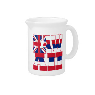Hawaii state flag text beverage pitchers