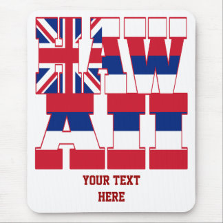 Hawaii state flag text mouse pad