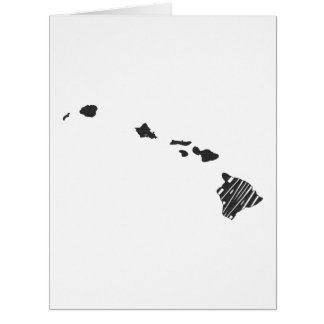 Hawaii State Name Word Art Black Card