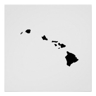 Hawaii State Outline Posters