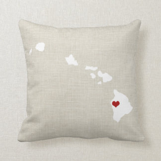 Hawaii State Pillow Faux Linen Personalized
