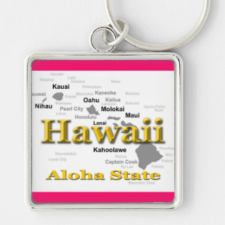 Hawaii State Pride Map Silhouette Keychain